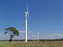 Wind power stations. Wind electric power stations Royalty Free Stock Image