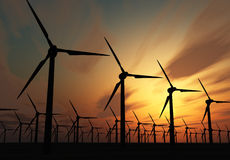 Wind power stations Stock Photo