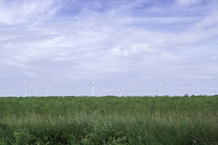 Wind Power Stations in Green Field Stock Photography