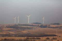 Wind power stations Royalty Free Stock Images