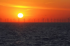 Wind power stations over the sea Royalty Free Stock Photo