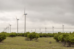 Wind Power Stations Spinning Royalty Free Stock Photos
