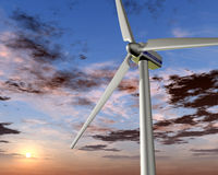 Wind power at sunrise Stock Images