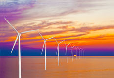 Wind Power and Sunset Royalty Free Stock Photo