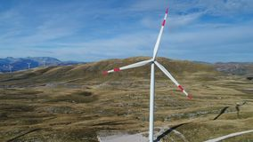 Aerial view on Wind Power, Turbine, Windmill, Energy Production - Green technology, a clean and renewable energy. Wind power technology - Aerial view on Wind stock footage