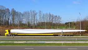 Wind power, transportation of rotor blade Royalty Free Stock Image