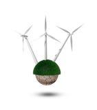 Wind power. Wind turbin. Isolated on white background Stock Image
