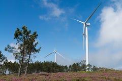 Wind power turbine maintenance Royalty Free Stock Images