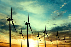 Wind power turbines Stock Photos
