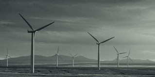 Wind Power. Wind turbines in the bleak Scottish landscape Royalty Free Stock Images