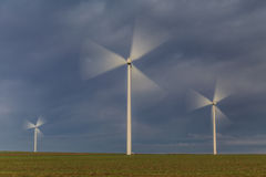 Wind power turbines in  Dobrogea, Romania Stock Images