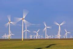 Wind power turbines in  Dobrogea, Romania Royalty Free Stock Image