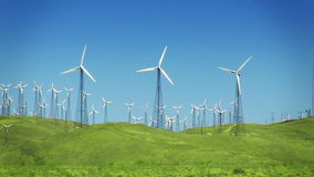 Wind Power Turbines (Green Hills & Blue Sky) Royalty Free Stock Images