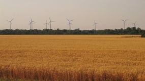 Wind Power. Wind turbines lay still on a calm evening in rural Oklahoma Stock Photo