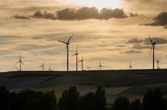 Wind power turbines. At sunset Stock Image