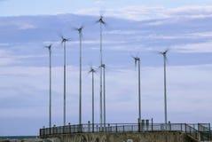 Wind-powered generators. Alternative energy - wind-powered generators stock image