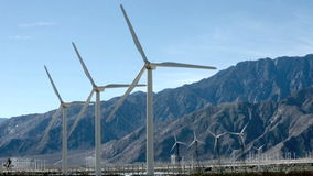 Wind powered generators near Palm Springs, CA stock footage