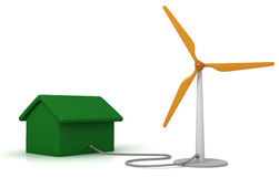 Wind powered house. Wind powered green ecological house Stock Images