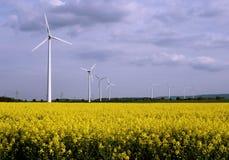 Wind powermills. Windpowermills in a field of rape Stock Photography
