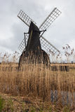 Wind pump in landscape with reed beds at Wicken Fen, Cambridgeshire, England Stock Photography