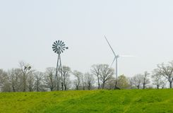 Wind Pump and Wind Turbine Royalty Free Stock Photo