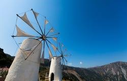 Wind pumps in Island of Crete, Malia stock photo