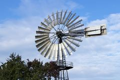 Wind pumps for water supply. Historical wind wheel, Germany stock photography