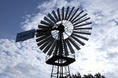 Wind pumps for water supply. Historical wind wheel, Germany stock photo