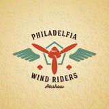Wind Riders Airplane Vector Retro Label, Sign or Logo Template. Vintage Plane Airscrew in a Shield with Wings Stock Images