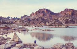 Wind river range. Hike in Wind River Range in Wyoming, USA. Autumn season royalty free stock photography