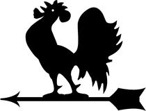 Wind rooster. Wind direction rooster in black and white Stock Photo