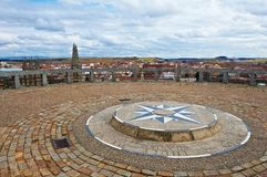 Wind Rose. Bird's Eye View on the Spanish City of Burgos from the Lookout with the Wind Rose Stock Photography