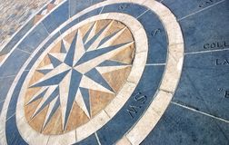 Wind rose. An old wind rose made with tiles on a pavement Royalty Free Stock Image