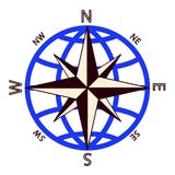 Wind rose against of the globe. Stock Image