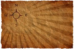 Wind rose on an ancient map Stock Images