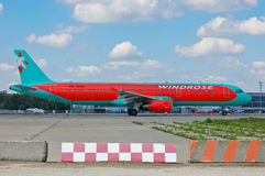 Wind Rose Aviation Airbus A321. 231 - UR-WRH landing, Ukraine, Boryspil International Airport, May, 11, 2014 Royalty Free Stock Image