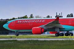 Wind Rose Aviation Airbus A330. 200 - UR-WRQ taxiing, Ukraine, Boryspil International Airport, May, 20, 2017 Royalty Free Stock Photography