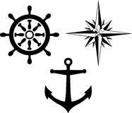 Wind rose compass and anchor Stock Photo