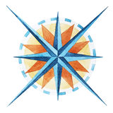 Wind rose compass. Beautiful vector image with nice watercolor wind rose compass Stock Photo