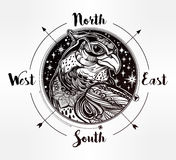 Wind rose compass with bird of prey head. Royalty Free Stock Photos