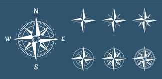Wind rose compass. Compass wind rose icons set, vector illustration Royalty Free Stock Image
