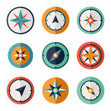 Wind rose compass flat vector symbols set Royalty Free Stock Images