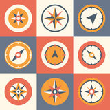 Wind rose compass flat vector symbols set Stock Photography