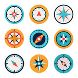 Wind rose compass flat vector symbols set Royalty Free Stock Photos