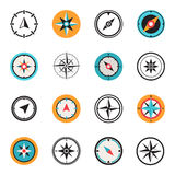 Wind rose compass flat vector symbols set Royalty Free Stock Photography