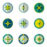 Wind rose compass flat vector symbols set.  Royalty Free Stock Photography