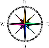 Wind rose compass icon stock images