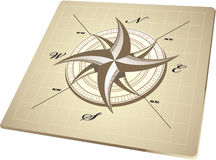 Wind rose compass retro design vector.  Royalty Free Stock Images