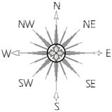 Wind rose compass silhouette. Against white background, abstract vector art illustration Royalty Free Stock Photo