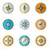 Wind rose compass. Vector illustration. Wind rose compass flat vector symbols set Stock Photos